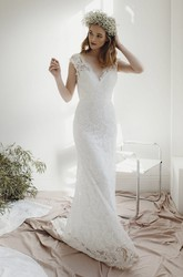 Cap Sleeve Lace Sheath Deep V-neck Bridal Gown With Deep V-neck And Court Train