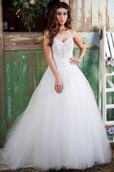 Ball Gown Long Sweetheart Sleeveless Beaded Tulle Wedding Dress