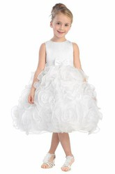 Tea-Length Tiered Bowed Organza&Satin Flower Girl Dress