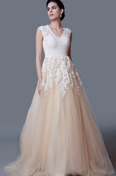 Modest A-line V Neck Long Lace Wedding Dress with Cap Sleeves