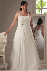 Pearl Straps A-Line Organza Bridal Gown With Lace Up