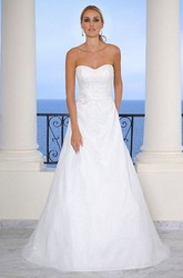 A-Line Appliqued Floor-Length Strapless Organza Wedding Dress With Flower