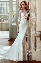 3-4-Sleeve Sheath Lace Wedding Dress With Court Train And Illusive Appliqued Bodice