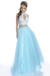Crop Top A-Line Tulle Sleeveless Prom Dress With Crystal Bodice And Halter