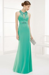 Crystal High Neck Front Keyhole Chiffon Long Prom Dress With Back Spaghetti Straps