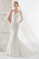 Sweetheart Sheath Lace Wedding Dress With Floral Neckline And Open Back