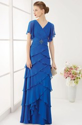 V Neck V Back Layered Chiffon Long Prom Dress With Ruffled Short Sleeves
