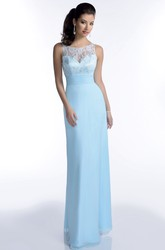 Lace Bodice Sleeveless Chiffon Bridesmaid Dress With Scoop Neckline