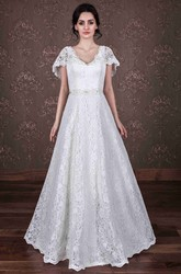 A-Line Poet-Sleeve V-Neck Lace Wedding Dress With Waist Jewellery