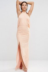 Sheath High-Neck Sleeveless Long Split-Front Chiffon Bridesmaid Dress