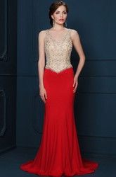 Sheath Beaded V-Neck Sleeveless Floor-Length Jersey Evening Dress
