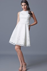 Jewel Neckline Short Satin Wedding Dress With Appliques
