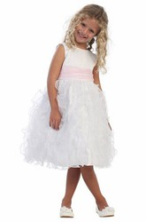 Tea-Length Ruched Sleeveless Organza&Satin Flower Girl Dress