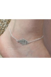 Western Style Simple Palm Anklet Jewelry 22Cm