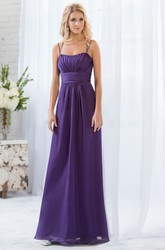 Sleeveless A-Line Empire Bridesmaid Dress With Pleats And Crystals