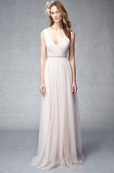 V-Neck Sleeveless Criss-Cross Tulle Bridesmaid Dress