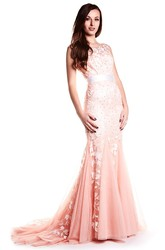 Sheath Floor-Length Bateau-Neck Embroidered Cap-Sleeve Tulle&Satin Prom Dress With Ribbon