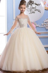 Tulle Scoop Long-Sleeve Beading Flower Girl Dress with Bow