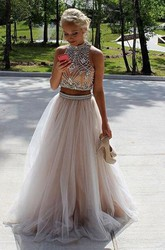 Sleeveless Floor-length A-Line High Neck Tulle Dress