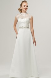 A-Line Jeweled High-Neck Cap-Sleeve Floor-Length Satin&Lace Wedding Dress With Bow