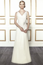 A-Line Ruched V-Neck Sleeveless Floor-Length Satin Wedding Dress With Epaulet And Low-V Back