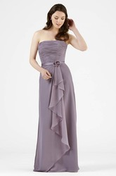 Strapless Ruched Chiffon Bridesmaid Dress With Flower And Draping