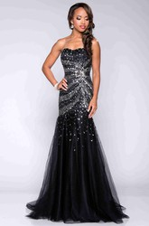 Strapless Trumpet Tulle Prom Dress With Sequins And Asymmetrical Waistline