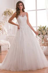 Bateau-Neck A-Line Wedding Dress With Illusion Detail And Floral Appliques