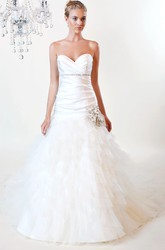 A-Line Sweetheart Long Tulle&Satin Wedding Dress With Cascading Ruffles And Waist Jewellery