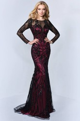 Mermaid Maxi Scoop-Neck Long Sleeve Tulle Satin Illusion Dress With Sequins