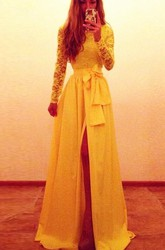 Sexy Long Sleeve Lace Chiffon Yellow Evening Dress Bowknot Front Split