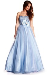 A-Line Sleeveless Strapless Long Beaded Tulle&Satin Prom Dress With Bow