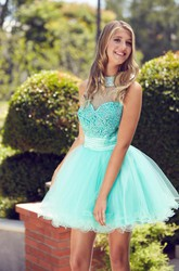 A-Line Mini High Neck Sleeveless Tulle Illusion Dress With Beading And Ruffles