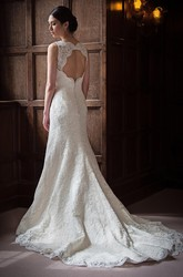 Sheath Appliqued Floor-Length Sleeveless Lace Wedding Dress