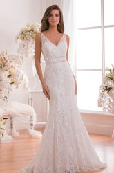 Sleeveless V-Neck Mermaid Wedding Dress With Low V-Back And Jewels
