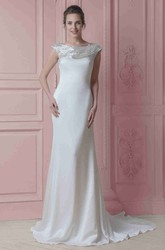 Long Scoop Beaded Cap-Sleeve Chiffon Wedding Dress With Sweep Train And V Back
