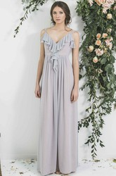V-Neck Sleeveless Draped Chiffon Bridesmaid Dress