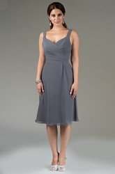 Criss Cross Top Knee Length Chiffon Bridesmaid Dress With Double Straps