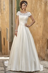 A-Line Maxi Short-Sleeve Square-Neck Lace Satin Wedding Dress