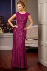 Cap-Sleeved Long Lace Mother Of The Bride Dress With Keyhole Back