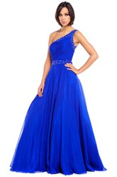 One-Shoulder Maxi Ruched Chiffon Prom Dress With Beading And Straps
