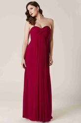 Empire Criss-Cross Sleeveless Sweetheart Chiffon Bridesmaid Dress With Pleats