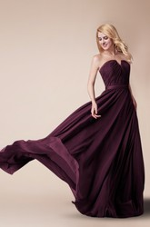 Notched Neck Long Chiffon Bridesmaid Dress