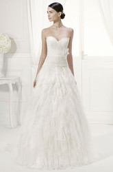 Sweetheart Lace Top Tiered Tulle Gown With Removable Off-Shoulder Half Sleeves