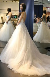 Ball Gown Sweetheart Lace Tulle Deep-V Back Wedding Dress