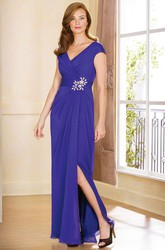 Cap-Sleeved V-Neck Side Silted Gown With Jewels