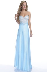 Sweetheart Chiffon A-Line Sleeveless Gown Featuring Beaded Bodice