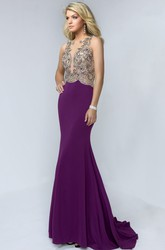 Sheath Maxi Bateau Sleeveless Jersey Illusion Dress With Beading