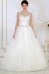 Ball Gown Floor-Length Beaded Sleeveless Scoop-Neck Tulle Wedding Dress With Criss Cross