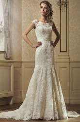 Sheath Floor-Length Square-Neck Appliqued Sleeveless Lace Wedding Dress With Bow And Court Train
